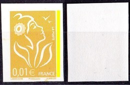 VARIETE N°3731ca. MARIANNE DE LAMOUCHE Phil@poste 0,01€ JAUNE NON DENTELE AVEC PHOSPHORE  LUXE** - 2004-08 Marianne De Lamouche