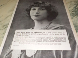 ANCIENNE PUBLICITE SAVON CADUM  MLLE ALICE NORY 1913 - Other