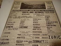 ANCIENNE PUBLICITE VOYAGE EN SUISSE 1915 - Advertising