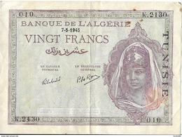 VINGT FRANCS - Banque De L'Algérie Surchargé TUNISIE - - Tunisia