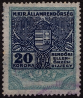 1921 Hungary - POLICE Tax - Revenue Stamp - 20 K -  Used - Revenue Stamps