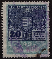 Red Number! - 1922 Hungary - POLICE Tax - Revenue Stamp - 80 K / 20 K - Overprint - Used - Revenue Stamps