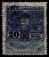 1923 Hungary - POLICE Tax - Revenue Stamp - 600 K / 20 K - Overprint - Used - Revenue Stamps