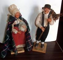 Ancien Couple De Santons De Provence Signes Les Josons - Berger Et Bergere - Santons