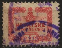 Train Railway 1941 Croatia NDH Ticket Stamp Tax Revenue LABEL CINDERELLA VIGNETTE - Used - 5 Kn - Trains
