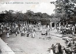 Cpa- A.o.f. (soudan)san -  Place Du  Marchè  (sèpia) - Soudan
