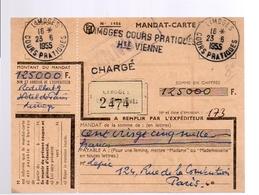 R-Chargé Mandat-carte 1955 Limoges Cours Praitiques (f17) - Autres