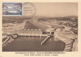 Carte  Maximum  1er  Jour    FRANCE  Barrage  De  DONZERE  MONDRAGON    1956 - Cartes-Maximum