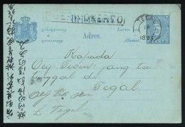 A5513) Netherlands Indies Postcard 1893 To Tegal - Niederländisch-Indien