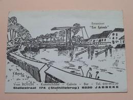 """Estaminet """" TER SPINDE """" Yvan ROYON Kunstschilder - Galerie - Bar JABBEKE () Anno 19?? ( Zie Foto Details ) !! - Jabbeke"""