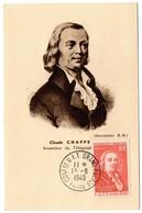 CARTE MAXIMUM FRANCE 1949 / PARIS   = CACHET Conférence UIT Grand-Palais + N° 844 ' CLAUDE CHAPPE ' - Maximumkaarten