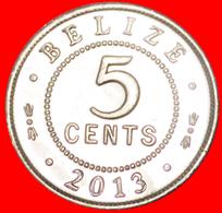 # COLONIAL PORTRAIT: BELIZE ★ 5 CENTS 2013 MINT LUSTER! LOW START ★ NO RESERVE! - Belize