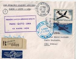 """"""" PREMIERE LIAISON AERIENNE DIRECTE  PARIS - QUITO- LIMA 13 Mars 1958 """" - 1927-1959 Brieven & Documenten"""
