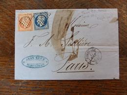 10.06.18_LSC De  Marseille Sur N° 14 Et N°16 Triple Port Taxe Barrée Puis 60cpour Paris - 1849-1876: Période Classique
