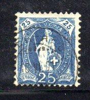 571 490 - SVIZZERA 1905, 25 Cent Azzurro Usato - Oblitérés