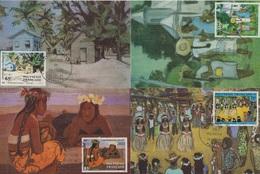 Polynesie - N°223 à 226 - Peintres En Polynesie - Carte Maximum - Cartes-maximum