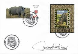 Belgium 2016 Mi. 4662 FDC Brussel With Selfadhesive Theme Stamp, Signed By Designer, White Rhinoceros - Rhinozerosse