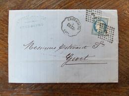 10.06.18_LAC De Cherbourg Conconyeyr Et Cachet A Voir!! Texte! Variété Sur N°60, 2 Ambulants Verso - Postmark Collection (Covers)