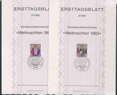 Germany + Berlin 1983 Christmas / Weihnachten 2 Ersttagsblatter (F7172) - [7] West-Duitsland