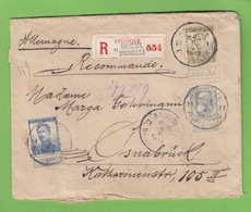 LETTRE RECOMMANDÉE DE BRUXELLES, AVEC NOS 78,112 ET 120,POUR OSNABRÜCK. - 1905 Breiter Bart