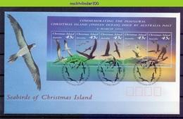 Mwe2603b FAUNA VOGELS BOOBY NODDY FRIGATEBIRD BIRDS VÖGEL AVES OISEAUX CHRISTMAS ISLAND 1993 FDC - Marine Web-footed Birds