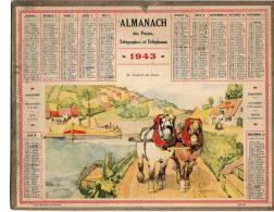 """Almanach Des Postes 1942  """"le Chaland Qui Passe""""  Péniche. Illustré Par  FELIX JOBBE-DUVAL Complet   Bon  état - Calendriers"""