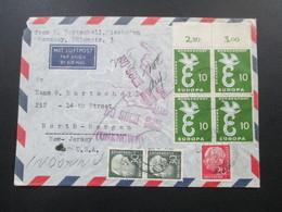 BRD 1959 Luftpost Nach New Jersey. Nr. 295 Als Oberrand Viererblock! Heuss II Nr. 259 Senkrechtes Paar. Unknown - [7] Federal Republic