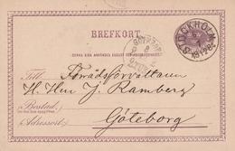 Suède Entier Postal Stockholm 1884 - Postal Stationery