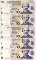 ARGENTINE 10 PESOS LECOP 2006 VF ( 5 Billets ) - Argentina