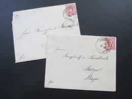 DR 1883 Pfennig Nr. 41 EF Auf 2 Belegen / 1x Mit Inhalt. Wolfenbüttel Nach Stuttgart Bazar. Hinten Verziert!! - Covers & Documents