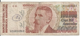ARGENTINE 100000 AUSTRALES ND1990-91 VG+ P 336 - Argentina