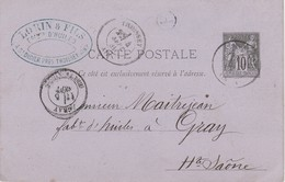 Carte Commerciale /Entier 1881/ LORIN & Fils / Fabricant D'huile / Saint Didier Près Thoissey 01 Ain / Cachet OR - Maps