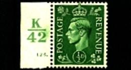 GREAT BRITAIN - 1941  KGVI   1/2d  LIGHT COLOURS  CONTROL  K42  MINT NH - 1902-1951 (Re)