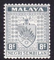 Malaysia-Negri Sembilan SG 29 1935 Arms, 8c Grey, Mint Hinged - Negri Sembilan