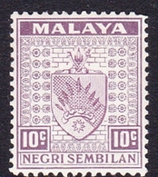 Malaysia-Negri Sembilan SG 30 1936 Arms, 10c Dull Purple, Mint Hinged - Negri Sembilan