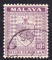 Malaysia-Negri Sembilan SG 30 1936 Arms, 10c Dull Purple, Used - Negri Sembilan