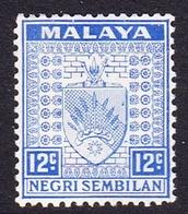 Malaysia-Negri Sembilan SG 31 1936 Arms, 12c Bright Ultramarine, Mint Hinged - Negri Sembilan