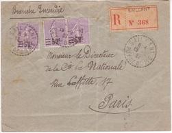60c Semeuse Lignée Surcharge 50c   Lettre Recommandée Cachet Facteur-receveur SAILLANT + étiquette Avec Pointillés 1927 - Brieven En Documenten