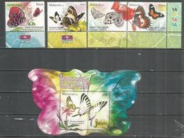 Papillons De Malaisie. Serie + Bloc-feuillet Neufs ** - Butterflies