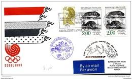118 - 19 - Enveloppe  Vol Air France Paris-Seoul - Départ De L'équipe Olympique Française 1988 - Verano 1988: Seúl