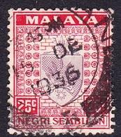 Malaysia-Negri Sembilan SG 33 1936 Arms, 25c Dull Purple And Scarlet, Used - Negri Sembilan