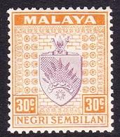 Malaysia-Negri Sembilan SG 34 1936 Arms, 30c Dull Purple And Orange, Mint Hinged - Negri Sembilan