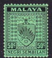 Malaysia-Negri Sembilan SG 36 1936 Arms, 50c Black-emerald, Mint Hinged - Negri Sembilan