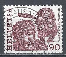 Switzerland 1977. Scott #644 (U) Folk Custom, Masked Men, Lotschental * - Suisse