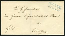 BRAUNSCHWEIG Ca. 1855/60, BRIEF MIT R2 HALLE/WESER IN BLAU GUTERHALTENES SIEGEL - Braunschweig