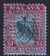 Malaysia-Negri Sembilan SG 37 1936 Arms, $ 1.00 Black And Blue, Short Perforation, Used - Negri Sembilan
