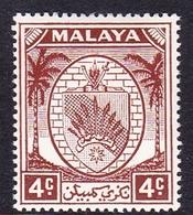 Malaysia-Negri Sembilan SG 45 1949 Arms, 4c Brown, Mint Hinged - Negri Sembilan