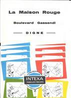 5 Buvards TEXTILE - INTEXA TOUS LES TRICOTS -LA MAISON ROUGE Boulevard Gassendi  à DIGNE (Basses-Alpes)  LACROIX LEBEAU - Textilos & Vestidos