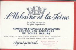 Buvard Années 50 - ASSURANCE - L'URBAINE Et La SEINE Agent LOUIS HOUEIX à BRIGNOLES (Var) COMPAGNIE FRANCAISE D'ASSURANC - Bank & Insurance