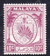Malaysia-Negri Sembilan SG 50 1949 Arms, 10c Purple, Mint Hinged - Negri Sembilan